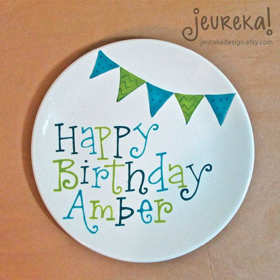 Large Ceramic Birthday Plate 10.5 Personalized by JeurekaDesign $30.00  sc 1 st  Pinterest & Large Ceramic Birthday Plate 10.5 Personalized by JeurekaDesign ...