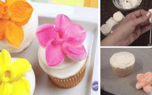 how to make delicious marshmallow flower cupcake topping
