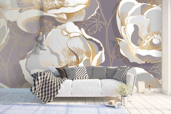 3d Grey Background White And Gold Floral Pattern Removable