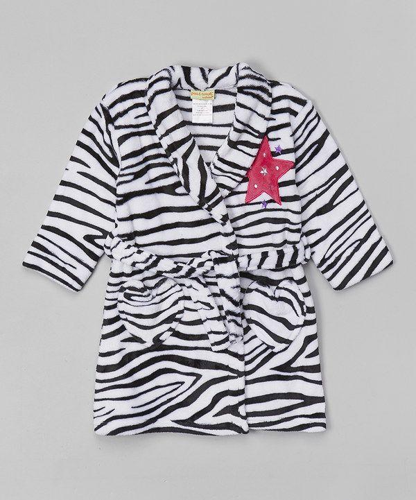 Look at this Komar Kids Black & White Zebra Fleece Robe - Toddler & Girls on #zulily today!