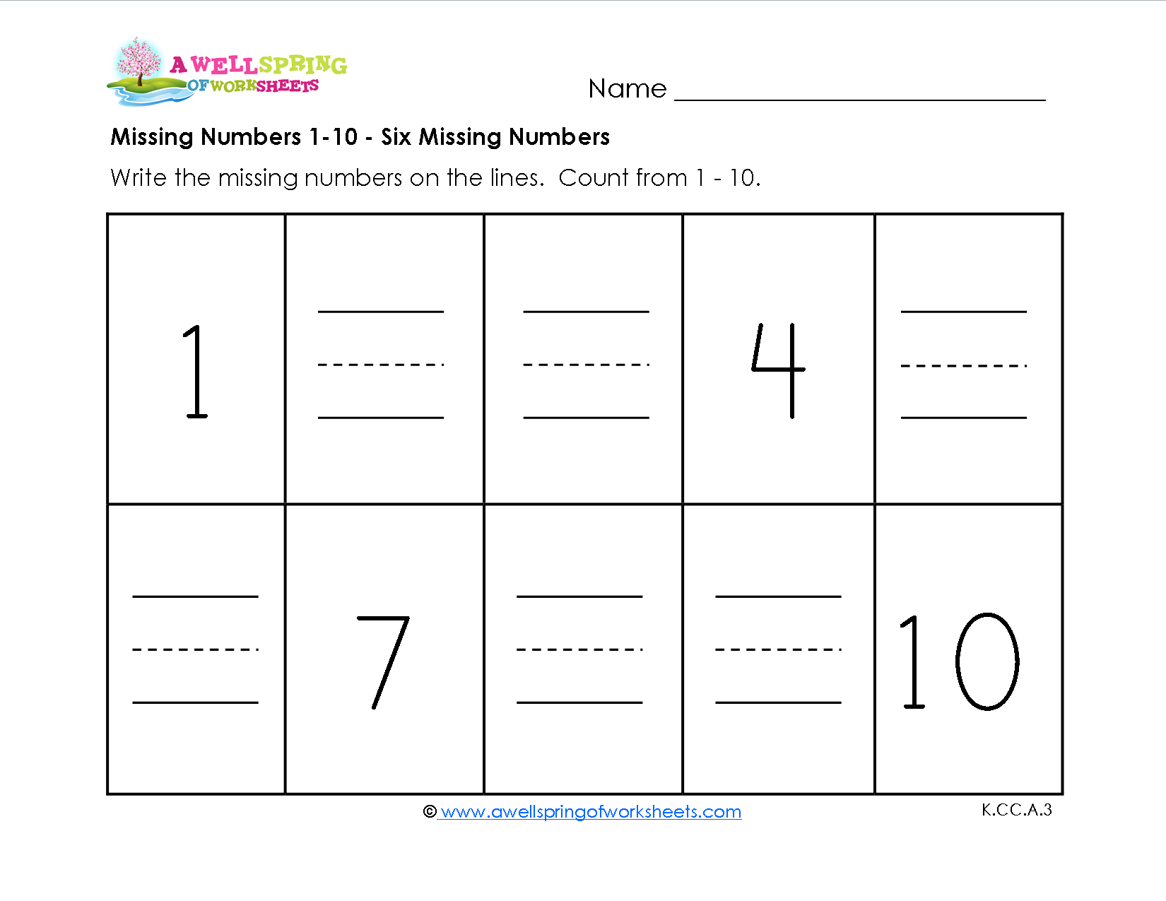 Missing Numbers 1 10 Kids Fill In The Missing Numbers As