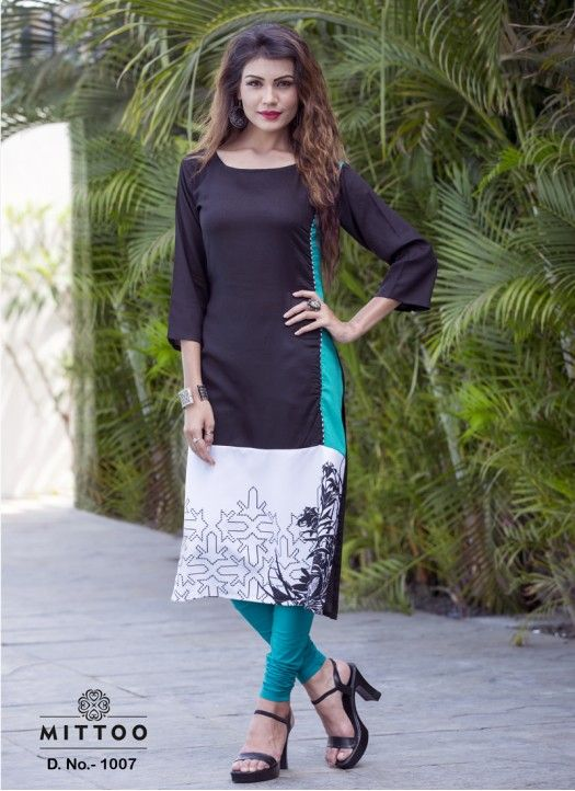 827a5361d88 New Printed Black & White Rayon Designer Kurti #kurti #indian #women #kurta  #dress #kameez #costume #salvar #online #cotton #kurtis #suit #traditional  ...