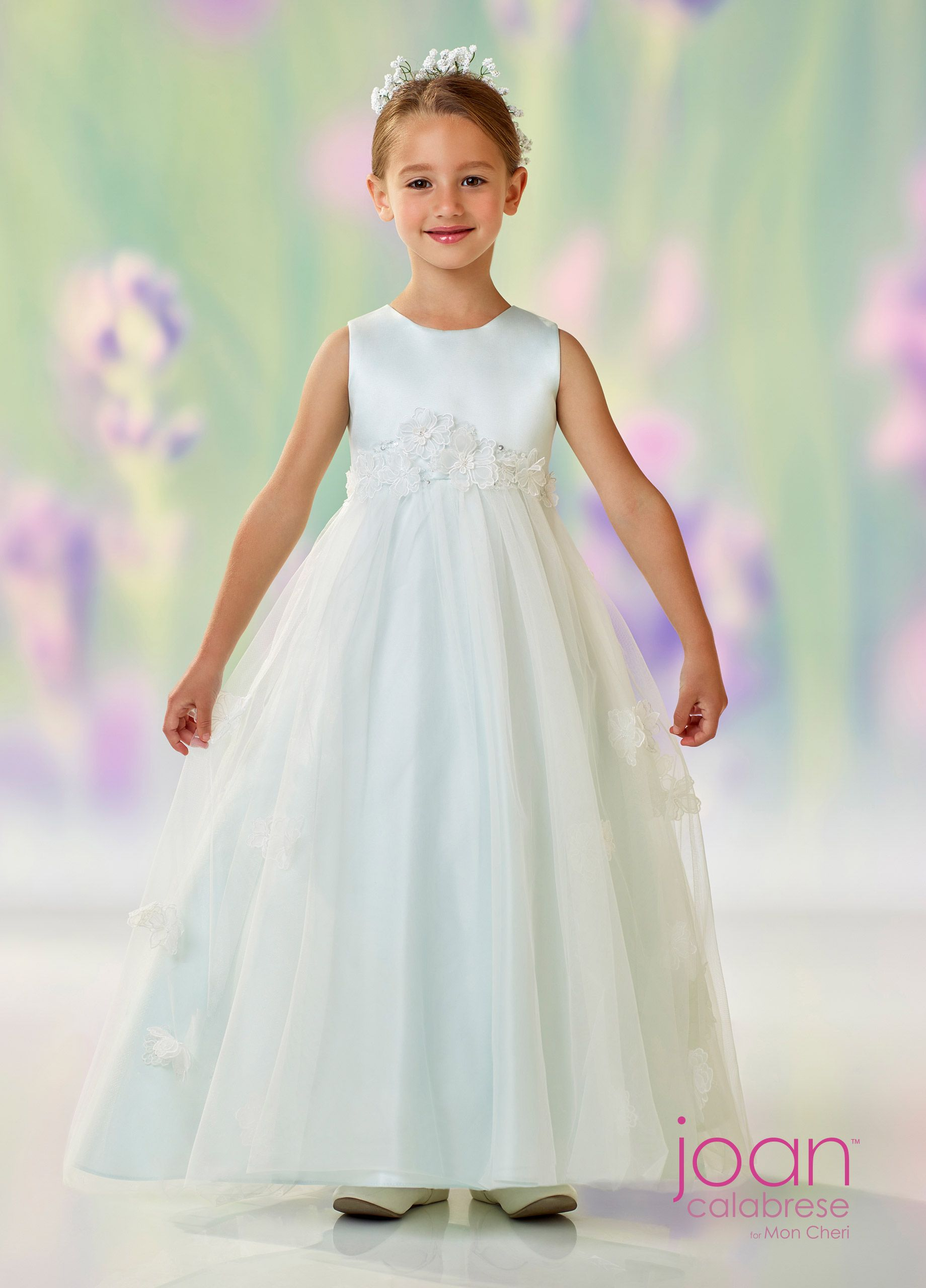 09ea69a6a27 Joan Calabrese For Mon Cheri 118320 - Sleeveless satin and tulle  long-length full A-line dress with jewel neckline