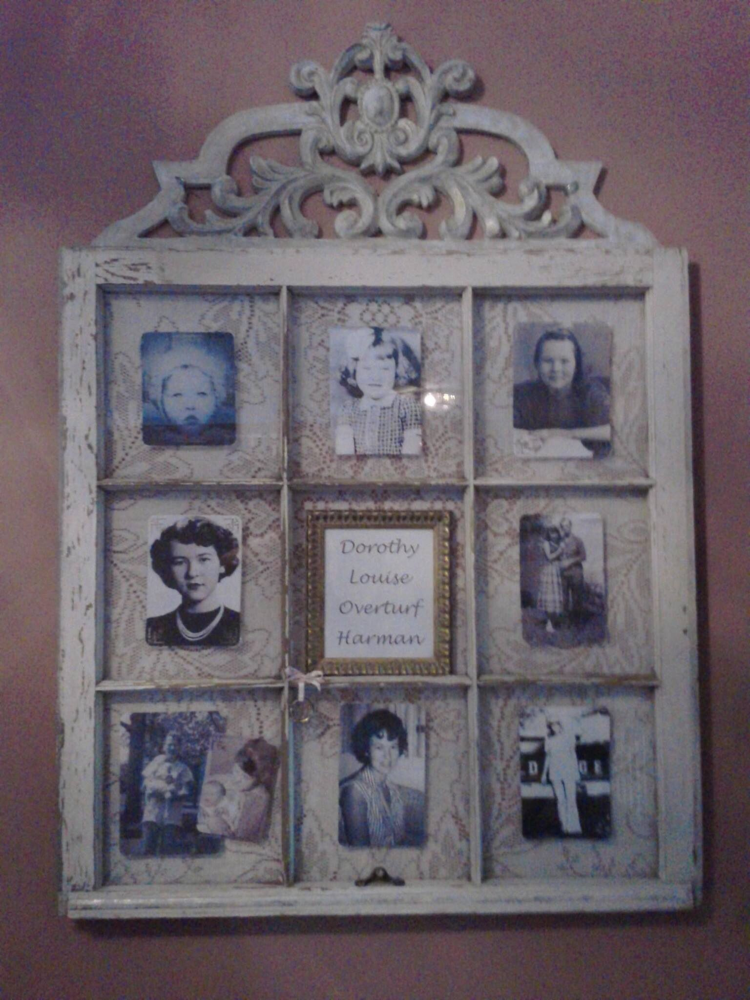 Memory Window Repurposed From Old 9 Pane Window And Lace Tablecloth Old Window Crafts Window Crafts Holiday Crafts Diy