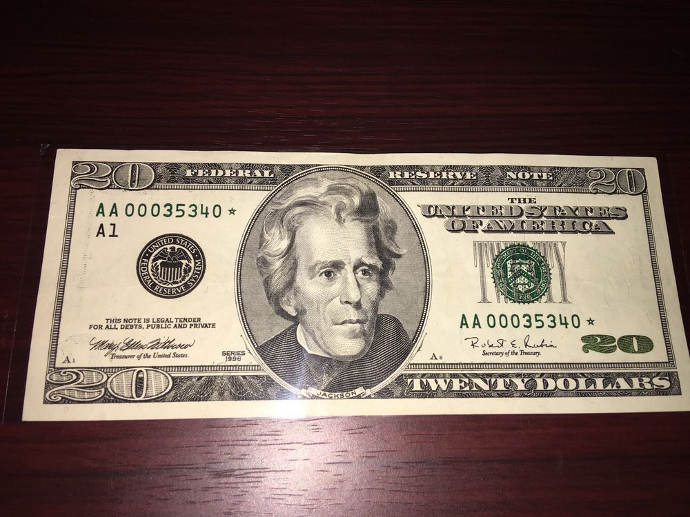 20 Dollar 1996 Replacement Star Note TRIPLE000 Low Serial Numbers