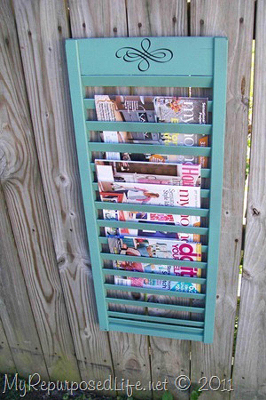 11 Clever Diy Magazine Storage Ideas Shutters Repurposed Diy Shutters Diy Magazine