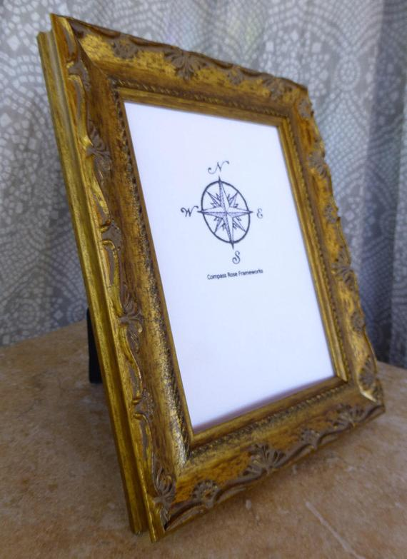 Wood Picture Frame Gold Antique Finish Classic Handmade Tabletop Display Select Size 4 X 6 5 X 7 Wood Picture Frames Frame Decor Picture Frames