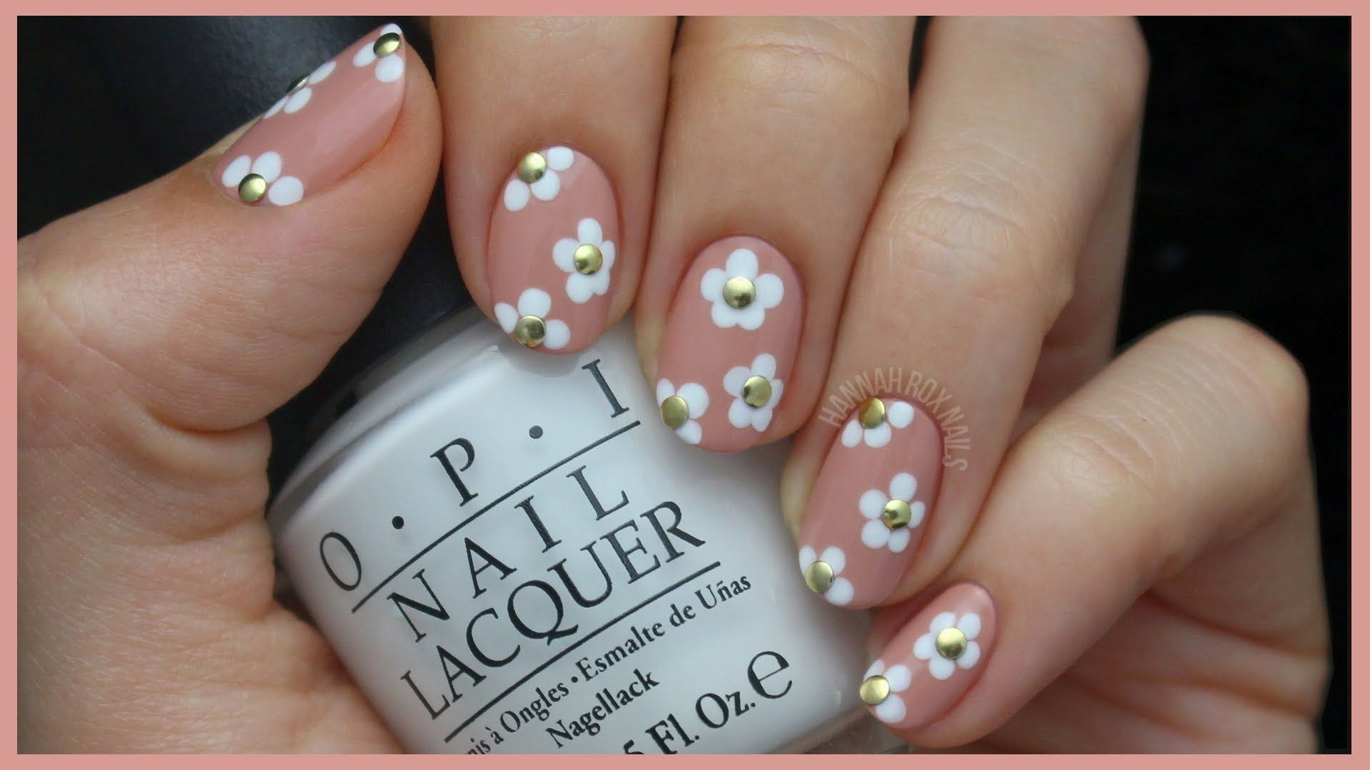 Cute Studded Daisy Nail Art | Nail Designs Tutorials | Pinterest ...