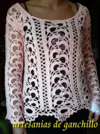 Cortinas en tejido crochet (ganchillo), modelo romántico ...