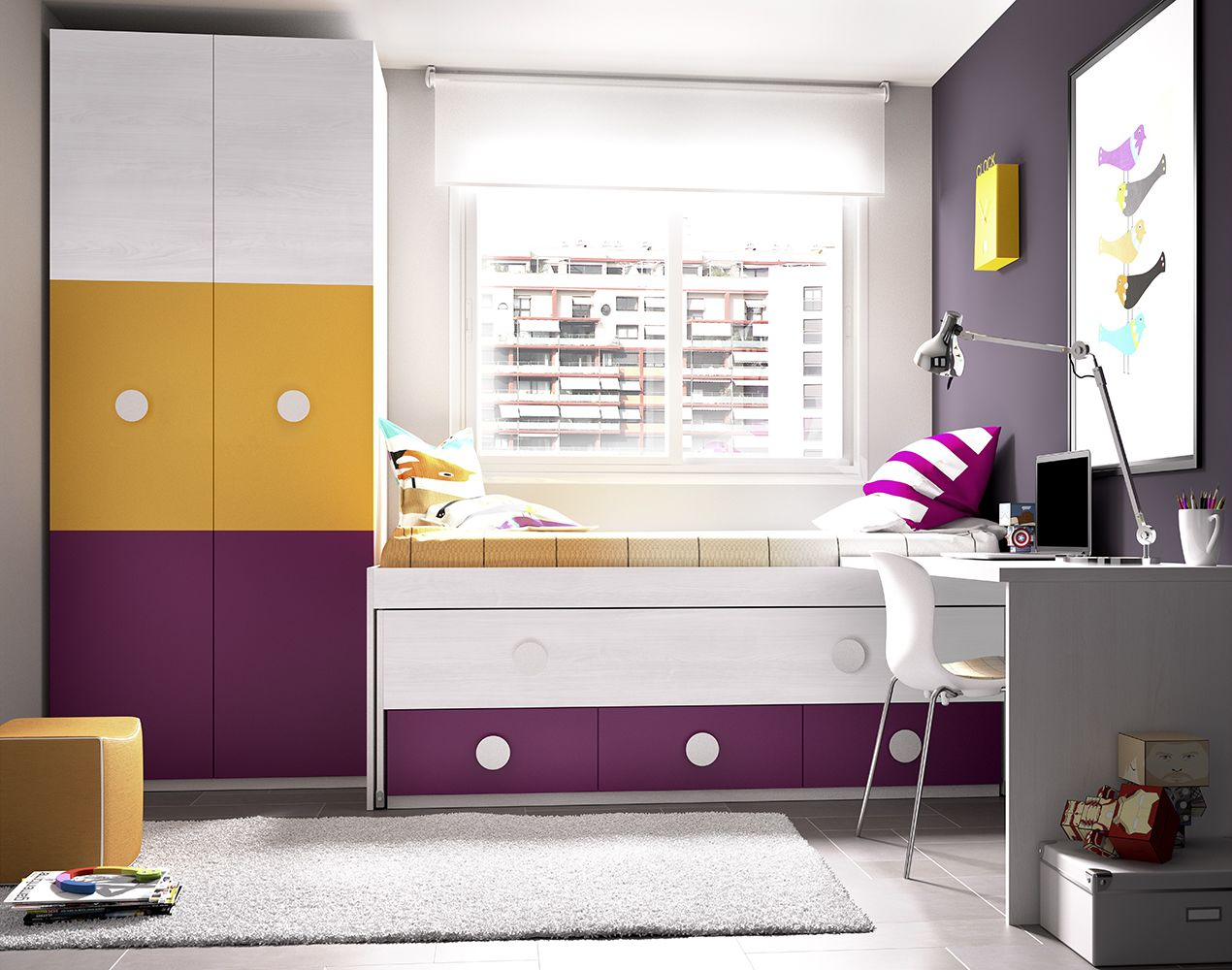 Compact kids room set from Rimobel Furniture, Spain, comes with bed with 3 drawers and a guest bed, desk and wardrobe #sohomod