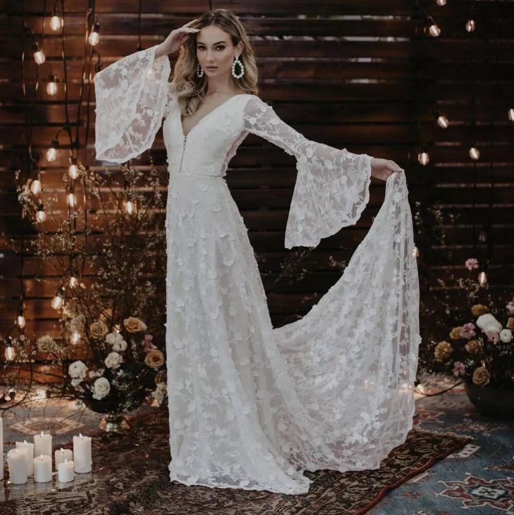 Dawn Long Sleeve V Neck Wedding Dress In 2021 Bell Sleeve Wedding Dress V Neck Wedding Dress Wedding Dresses Flowy Sleeves [ 1001 x 1000 Pixel ]
