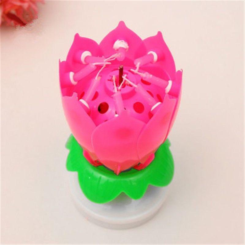 Amazing Romantic Musical Lotus Rotating Pink Flower Lights Gift