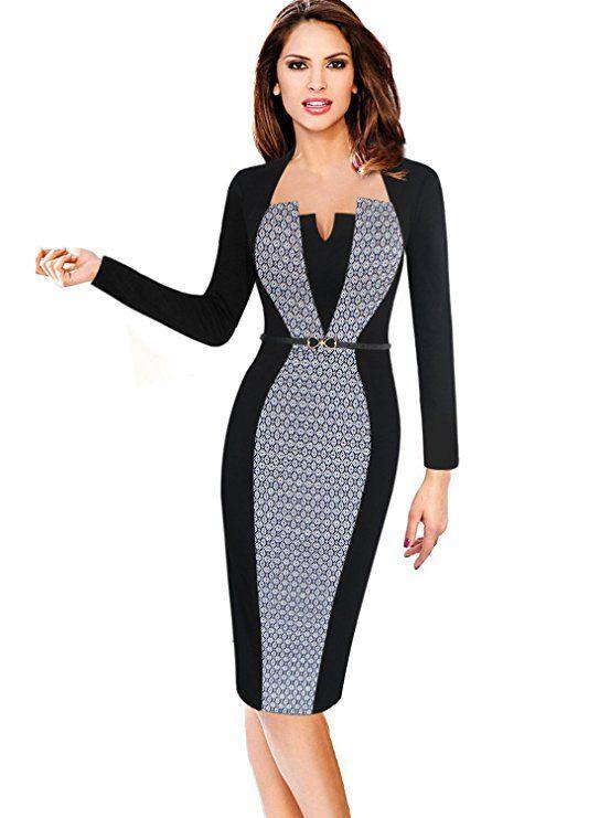 093d82efcd2c VfEmage Womens Elegant Colorblock Contrast Work Business Casual ...