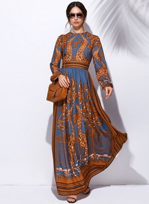 edfb9c3843ff7 Chiffon Floral Long Sleeve Maxi Casual Dresses (1029274) @ floryday.com