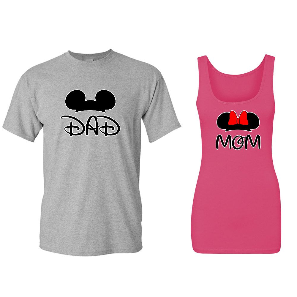 mom dad mickey minnie head couple matching t shirt tank top best