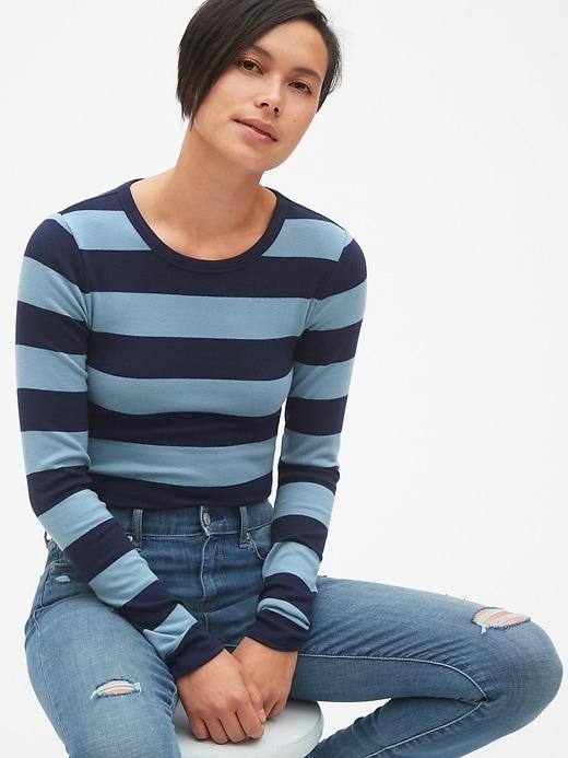 e0b759f7acb9 Gap Womens Modern Long Sleeve Stripe Crewneck T-Shirt Blue Stripe ...