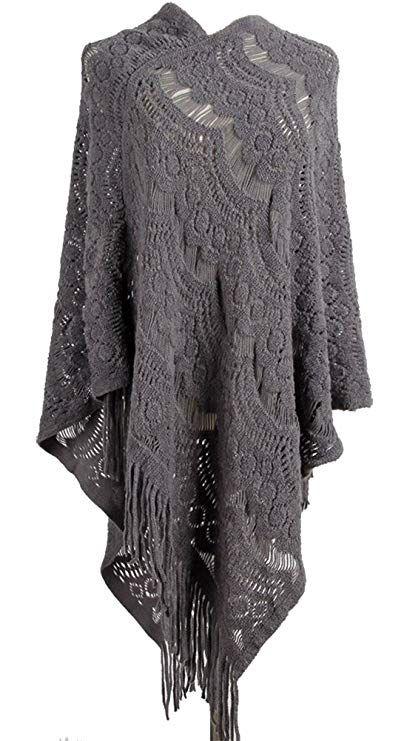 a8ced1a0a9aba QZUnique Women's Sweater Cape Pullover Lace Shawl Tassles Knit Poncho-Like  Wrap #QZUnique #