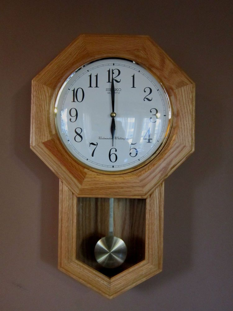 Oak pendulum wall clock seiko quartz westminster for Seiko quartz wall clock