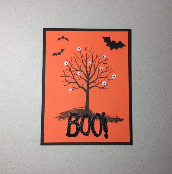 Halloween Card Handmade Boo Spooky Eyeball Halloween Etsy In 2021 Halloween Greeting Card Halloween Cards Diy Halloween Greetings