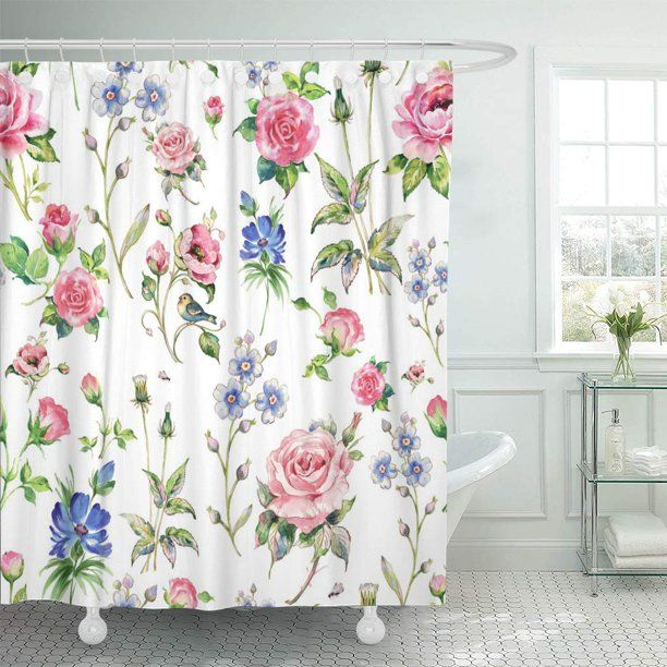 Floral Shower Curtain Chic Flowers Roses Petals Dots Leaves Buds Spring Season