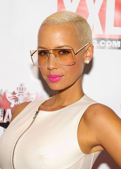Amber Rose New Haircut : amber, haircut, Amber, Lipstick, Rose,, Glasses, Shape,, Makeup