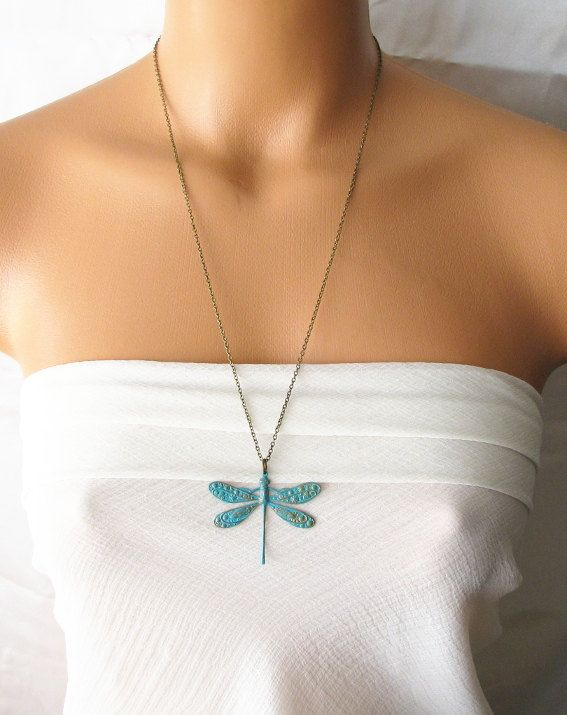 dragonfly necklace, antique brass necklace, long necklace, verdigris patina jewelry, animal necklace woodland bug insect jewelry dragonfly on Etsy, $29.00