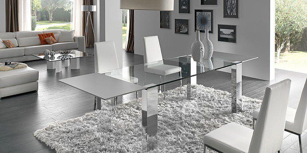 Otras mesas de comedor de acero y cristal Mesa salón Pinterest