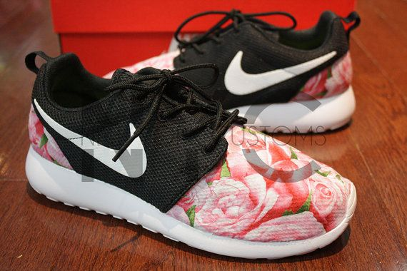 the best attitude 4e837 9ae94 ... reduced nike roshe run black white bushel of roses floral print v5  edition custom womens men