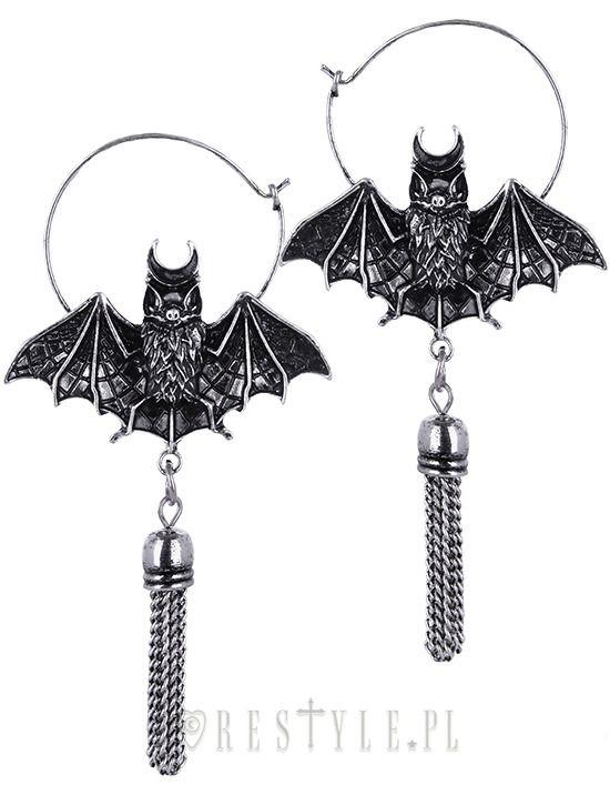 silver oriental *bat* hoop earrings <3