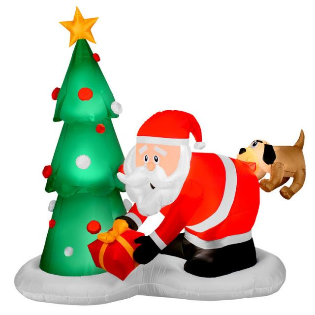 Funny Christmas Inflatable Yard Decorations: Santa And Dog Scene Christmas Inflatable. Oh Oh...looks