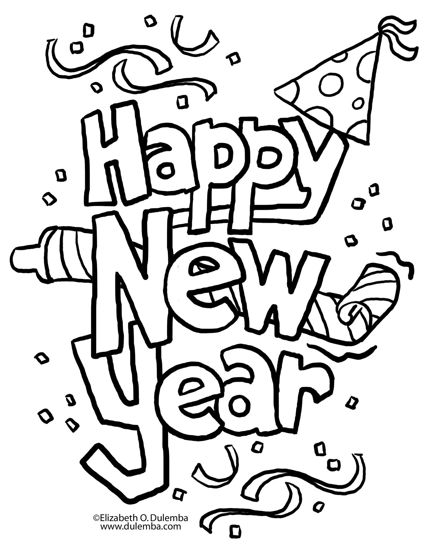 Free Print Out Happy New Year Clipart 2016 Coloring In Sheetshappy Activities Worksheets Pages For Kidsprint Party Hat