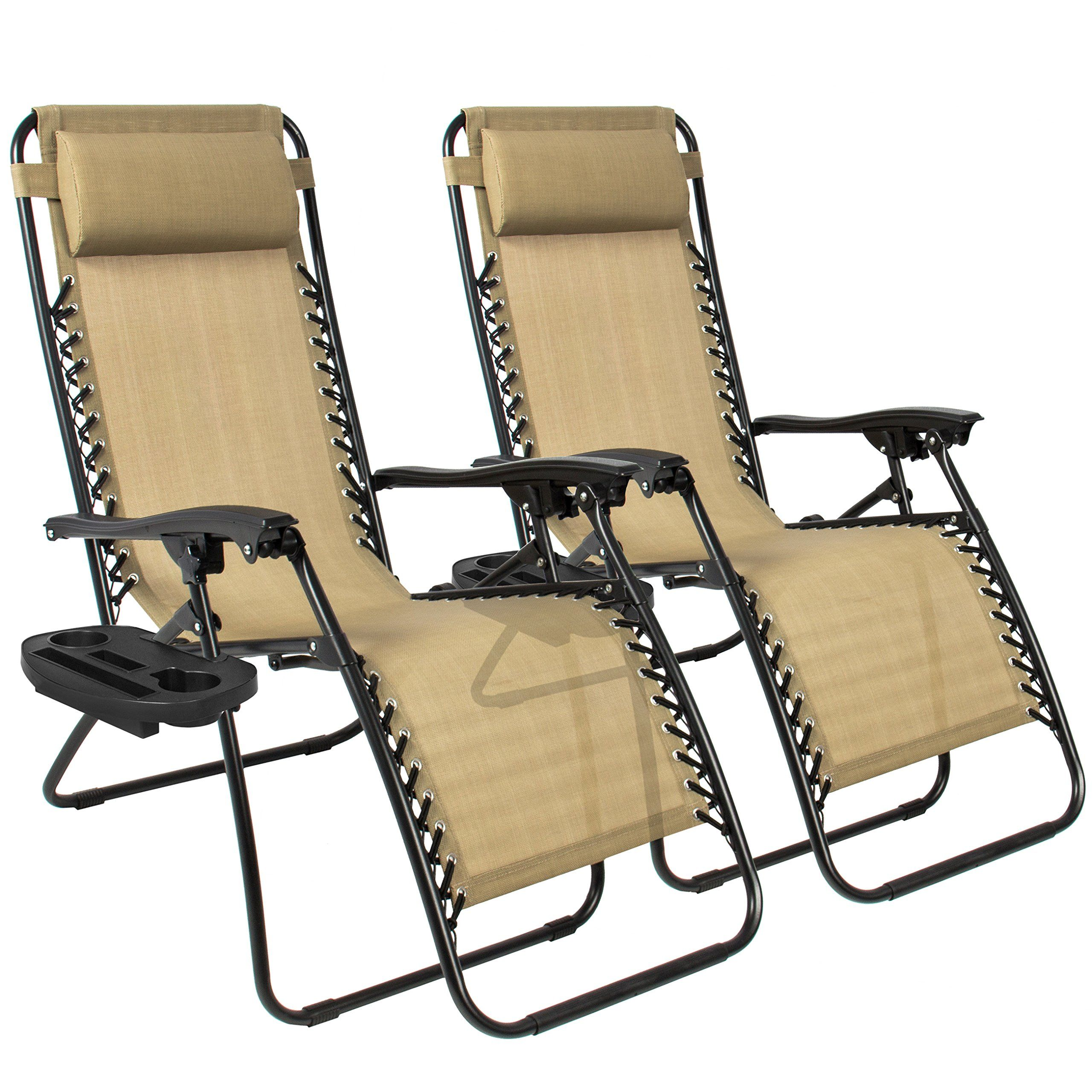 Best ChoiceProducts Zero Gravity Chairs Tan Lounge Patio Chairs Outdoor  Yard Beach New (Set Of