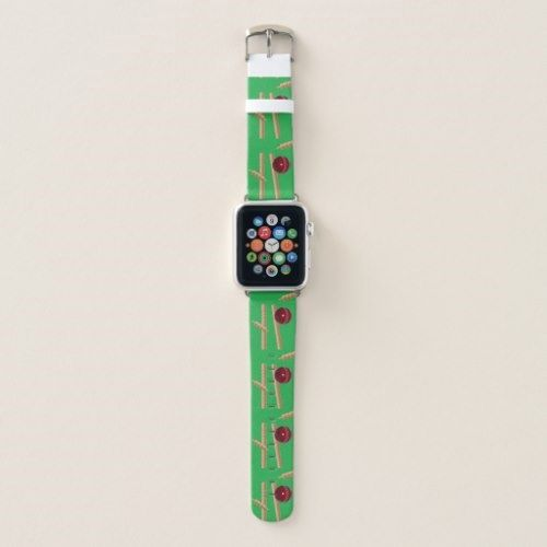 Green Cricket Ball And Stumps Design, Apple Watch Band