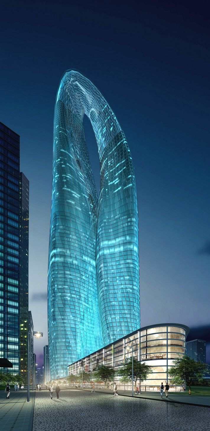Guangzhou twin towers west tower guangzhou china by for Amazing architecture