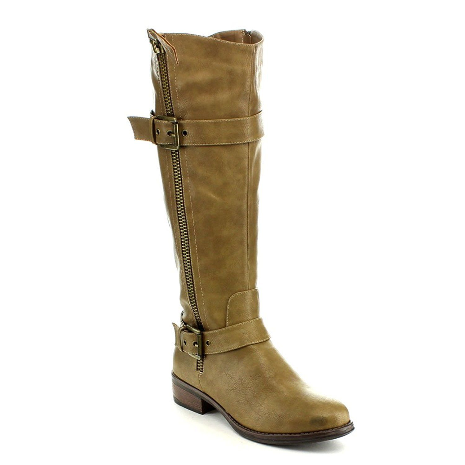 ANNA ENY-11 Women Fashion Buckle Side Zipper Combat Riding Knee High Flat Boot * For more information, visit image link.