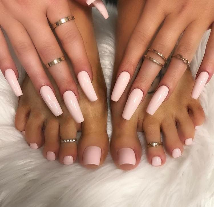 Matching Manicure And Pedicure Acrylic Toes Toe Nails Pretty Acrylic Nails