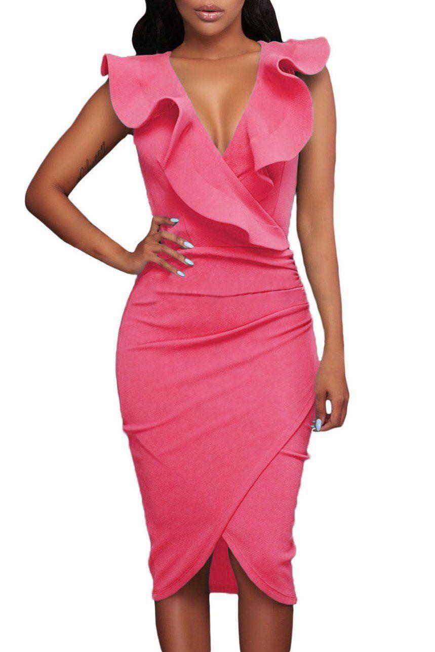 Chic Rosy Ruffle V Neck Bodycon Midi Dress