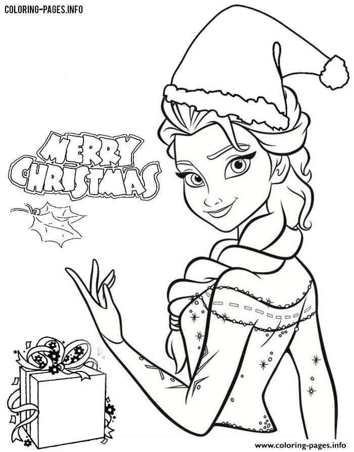 Print Frozen Elsa Disney Princess Christmas Coloring Pages With