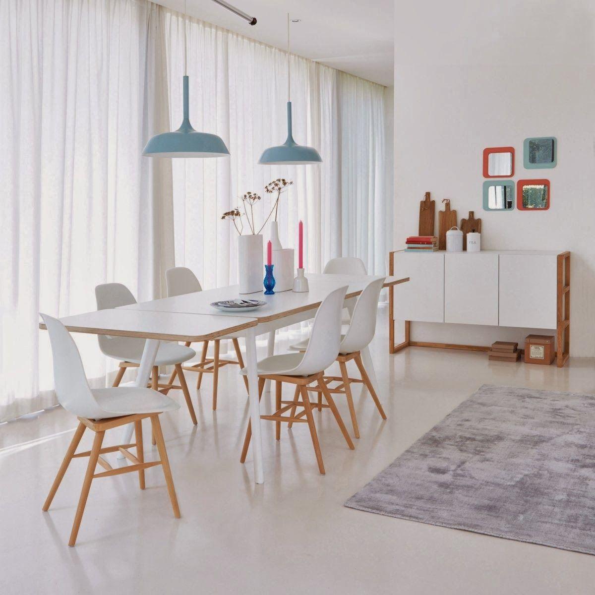 chaise coque plastique lot de jimi la redoute interieurs style scandinave un mariage de blanc et bois clair pour les chaises jimi associer aux autres - Salle A Manger Style Scandinave