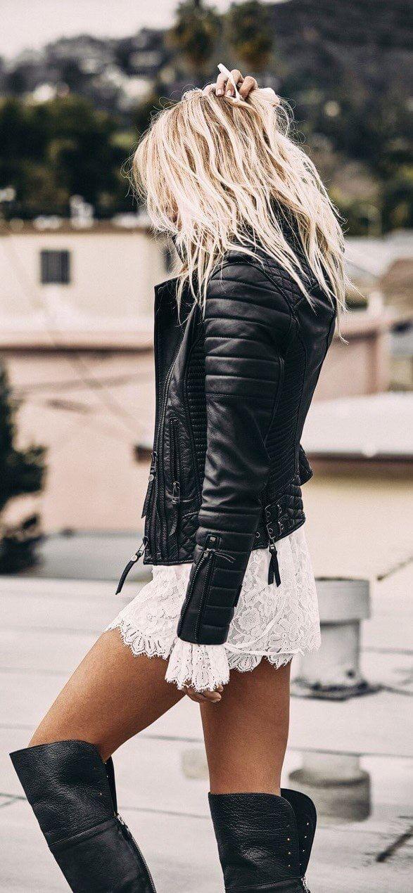 Leather Jackets Lace Dress Trajes De Chaqueta De Cuero
