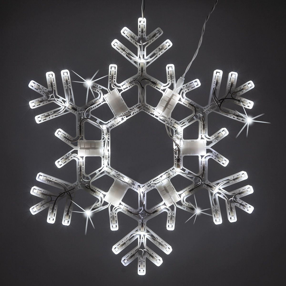 Led Folding Snowflake Cool White Twinkle Lights Snowflake