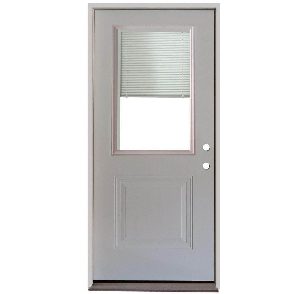 Steves Sons 32 In X 80 In 1 Panel 1 2 Lite Mini Blind Primed White Steel Prehung Front Door White Nickel Exterior Doors With Glass Mini Blinds Entry Doors