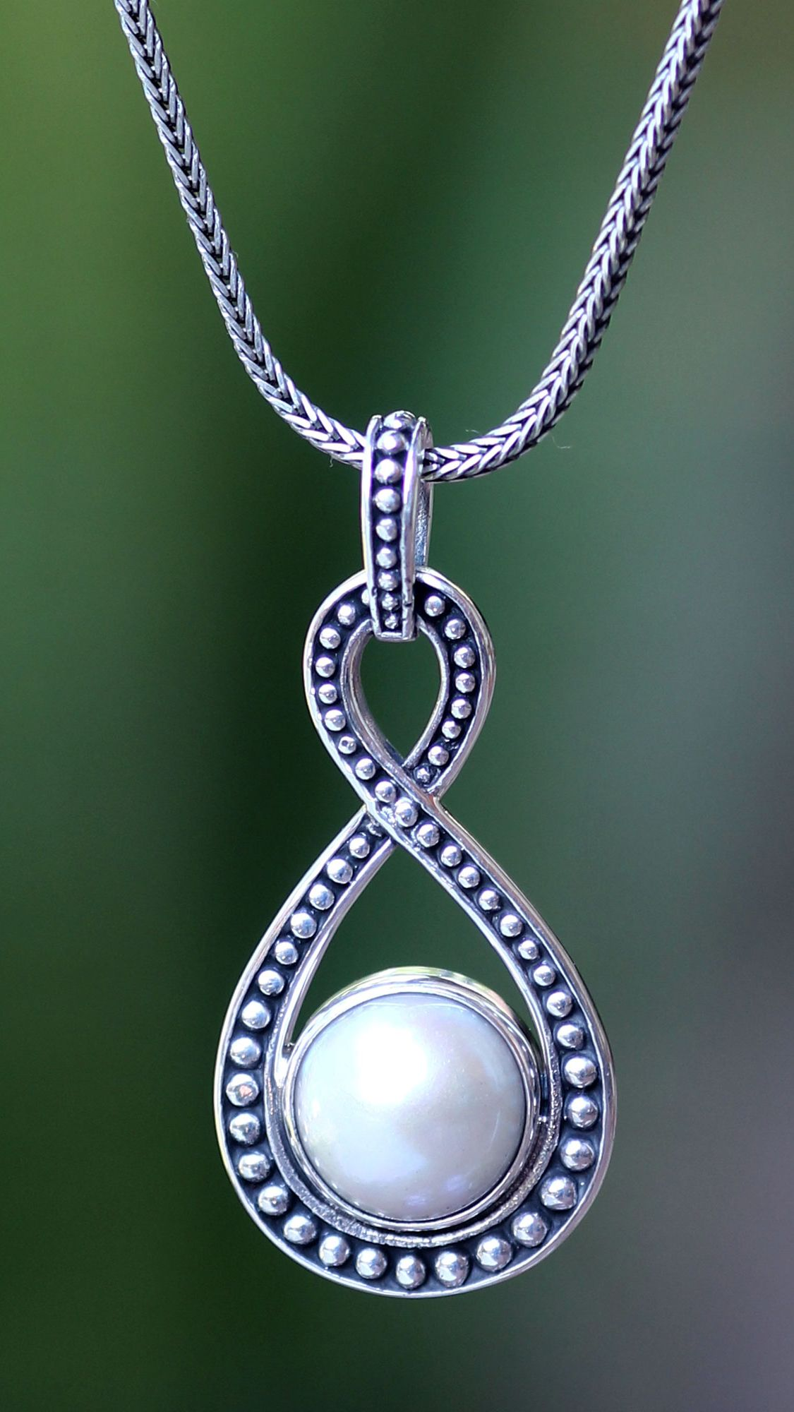 Freshwater Pearl and Sterling Silver Necklace, 'Love to