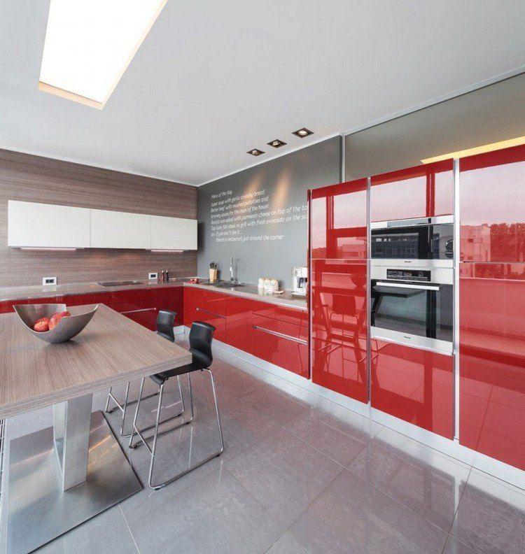 Decoracion de cocinas a todo color - 78 ejemplos | Gris, Rojo y Madera