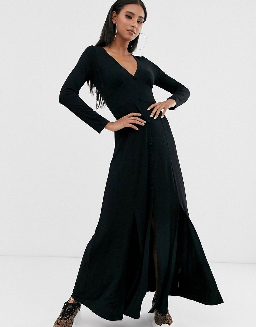 Asos Design Long Sleeve Button Through Maxi Tea Dress With Splits Black Modesens Tea Dress Dresses Asos Designs