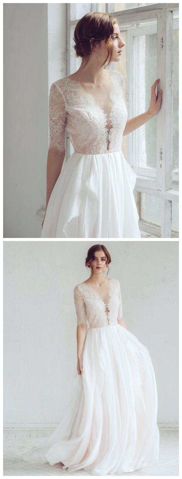 Wedding dresses cheap plus size  See Through Lace Top Beach Wedding Dresses Half Sleeve Simple