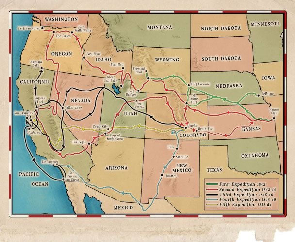 Map of John C Fremont explorations illustrated map by Max Miller