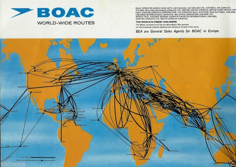 BRITISH EUROPEAN AIRWAYS 4/68-ROUTE MAP | Airplanes - Routes ...
