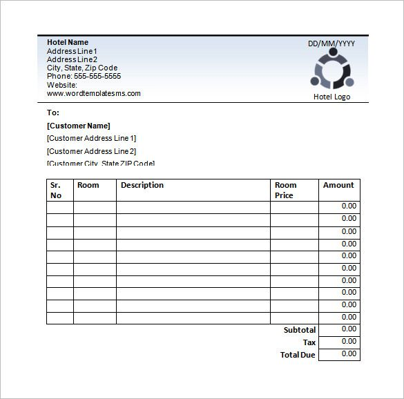 8 hotel receipt templates free printable word excel pdf