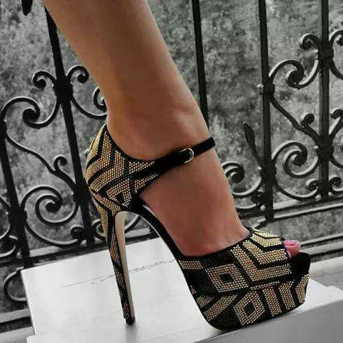 gold and black is the best combination  heels platform